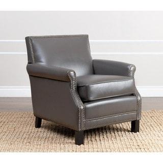 ABBYSON LIVING Chloe Grey Leather Club Chair