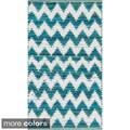 Hand-woven Becca Chevron Cotton Rug (2'3 x 3'9)