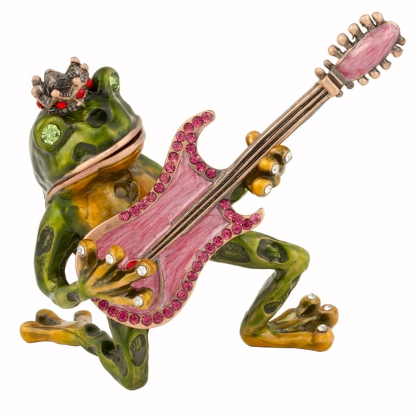 Frog with Guitar Swarovski Crystal Trinket Box