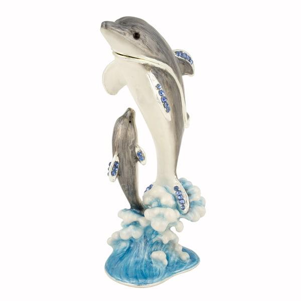 Mother and Child Dolphin Swarovski Crystal Trinket Box