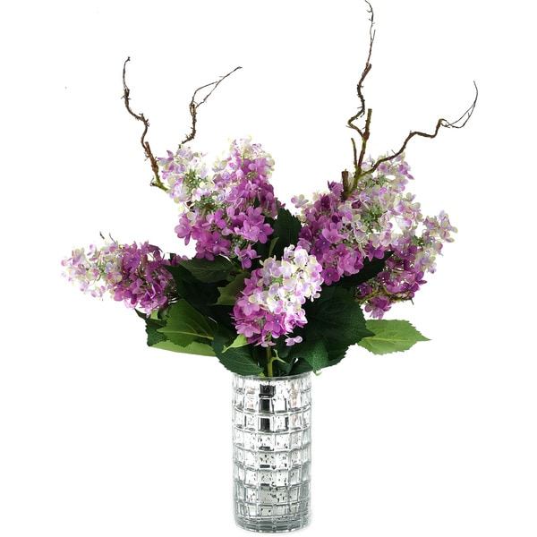 Lavender Tree Hydrangeas in Mercury Glass Cylinder