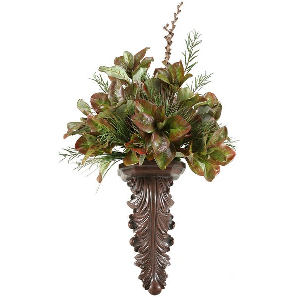 Magnolia Foliage with Willow and Onion Grass on Wall Sconce
