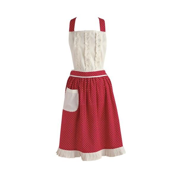 Design Imports Red Polka Dot Vintage Apron