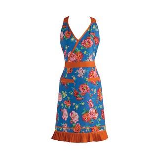 Design Imports Blue Floral/ Orange RicRac Vintage Apron