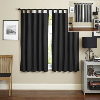 Blazing Needles 63-inch Twill Insulated Blackout Two-Tone Reversible Curtain Panel Pair