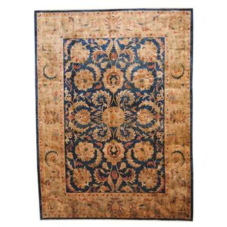 Herat Oriental Afghan Hand-knotted Vegetable Dye Sultanabad Navy/ Gold Wool Rug (8'10 x 12')
