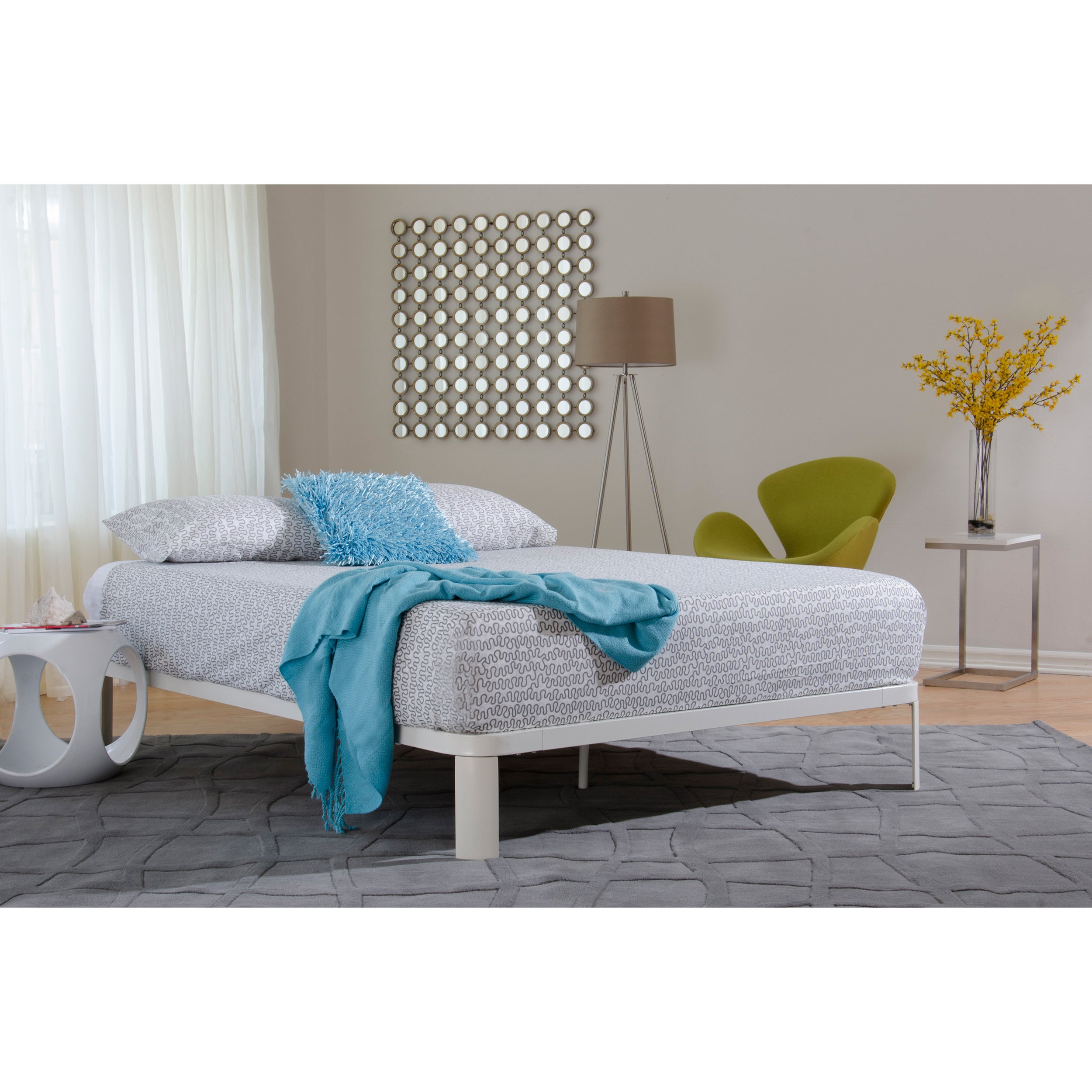 Lunar White Metal/ Wood Platform Bed II