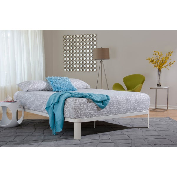 Lunar White Metal/ Wood Platform Bed II