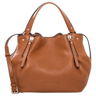 Burberry 'Maidstone' Small Brown Leather and Canvas Tote