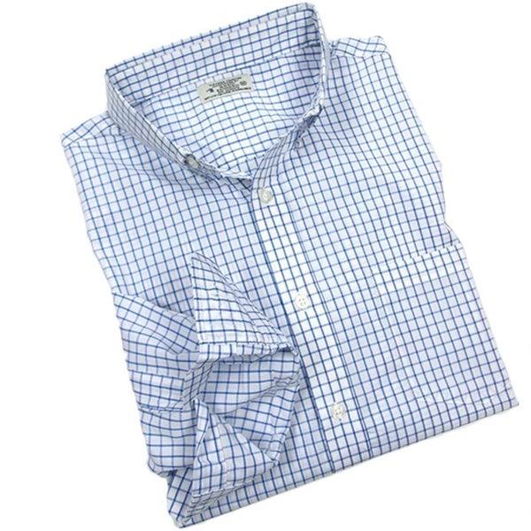 Reed Edward Men's Blue Check Button-down Shirt