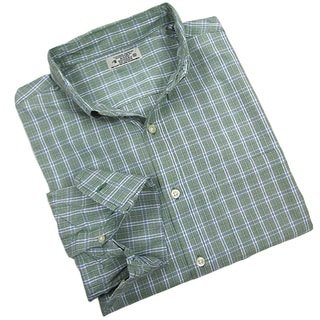 Reed Edward Men's Long Sleeve Green Thin-line Plaid Button Down Shirt