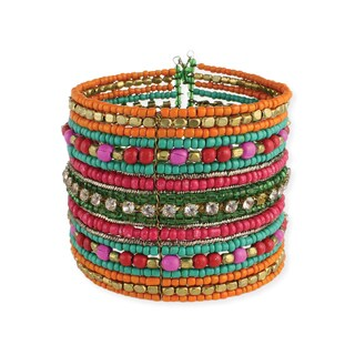 Handcrafted Multi-colored Glass and Crystal Beads Cuff Bracelet (India)