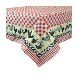 Design Imports 52-inch Square Just Us Chickens Print Tablecloth