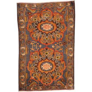 Herat Oriental Afghan Hand-knotted Tribal Balouchi Blue/ Peach Wool Rug (2'9 x 4'5)