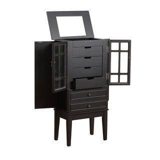 Powell Black Glass Door Jewelry Armoire