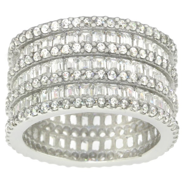 Gioelli Sterling Silver Cubic Zirconia Eternity Ring