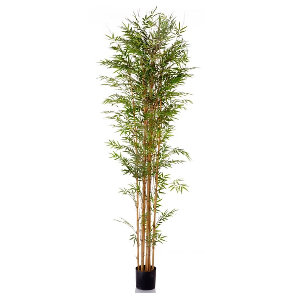 96-inch Potted Natural Trunk Bamboo Tree With 3020 Leaves (Pack of 2)
