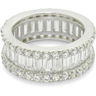 Gioelli Sterling Silver Baguette and Round Cubic Zirconia Eternity Ring