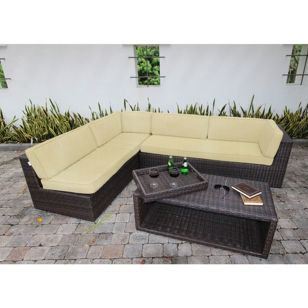 Bellini Sorano Wicker 4-piece Sunbrella Fabric Deep Seating Sofa Set