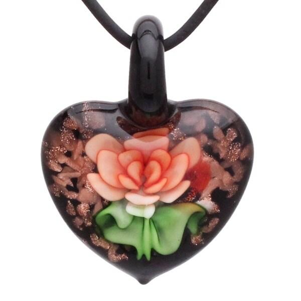 Handmade Murano Italian Style Orange Rose Heart Glass Fashion Pendant Necklace 14791017