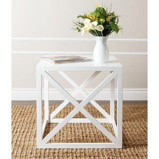 ABBYSON LIVING Raven Antiqued White X-shaped End Table
