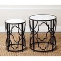 ABBYSON LIVING Harmon Antiqued Black Round Nesting End Tables (Set of 2)