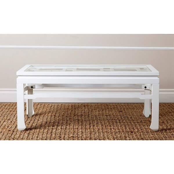 ABBYSON LIVING Atkins Antiqued White Rectangle Glass Coffee Table
