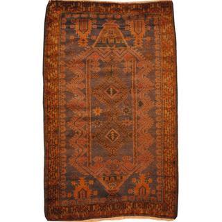 Herat Oriental Afghan Hand-knotted Tribal Balouchi Beige/ Brown Wool Rug (3'1 x 5')