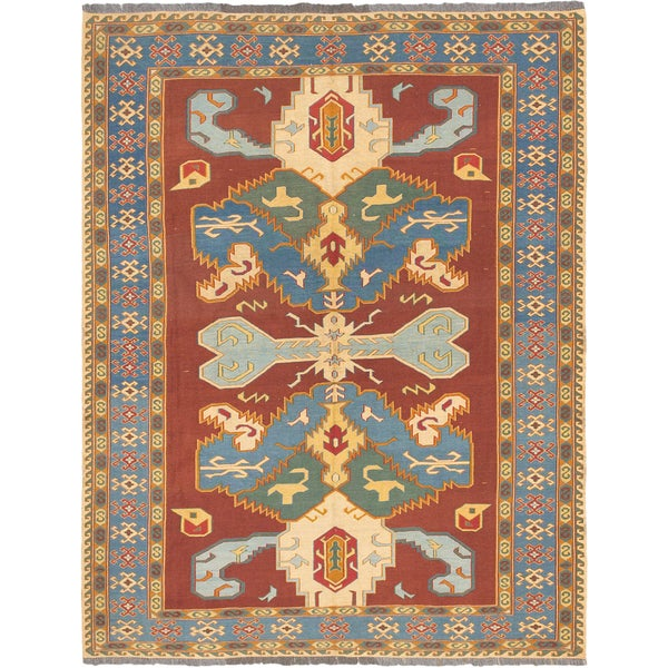 Nomad Geometric Sumak Red Wool Rug (6'0 x 7'9)