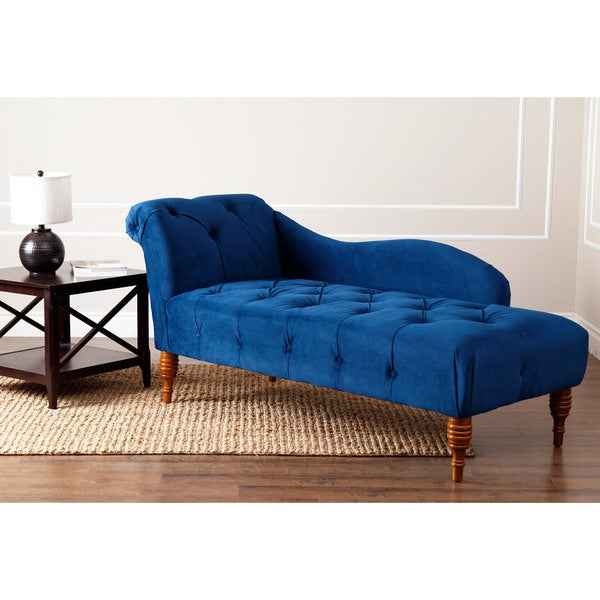 Abbyson living 39 audrey 39 navy velvet tufted chaise for Bellagio chaise lounge