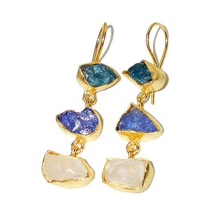 Tanzanite, Aqua, Cyrstal Quartz Rough Gemstone Goldplated Earrings (India)