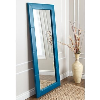 ABBYSON LIVING Delano Blue Leather Floor Mirror