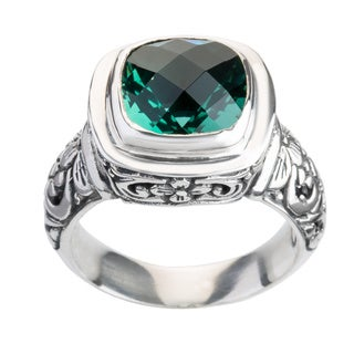 Handcrafted Sterling Silver Cut-work Detailed Faceted Green Quartz Bali Ring ( Indonesia)