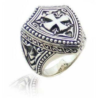 Handcrafted Sterling Silver Bali Men's Cross Crest Ring (Indonesia)