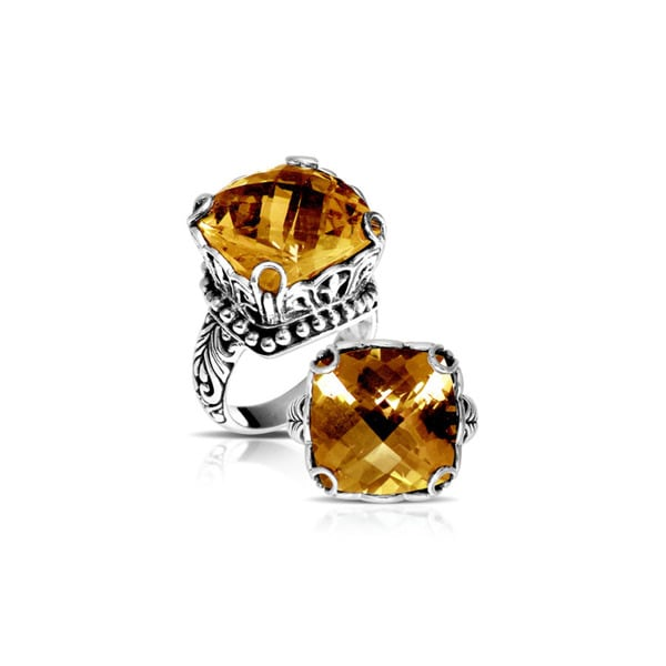 Handcrafted Sterling Silver Square Faceted Raised Citrine Bali Statement Ring ( Indonesia)