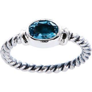 Handcrafted Sterling Silver Oval BlueTopaz Bali Stack Ring ( Indonesia)