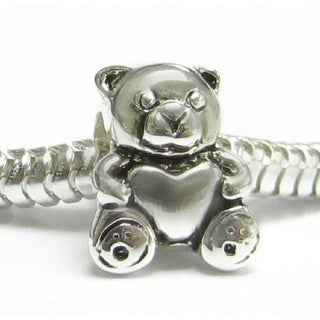 Queenberry Sterling Silver Teddy Bear Holding Heart European Bead Charm