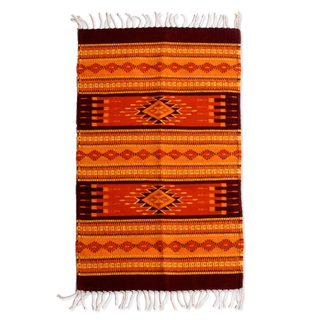 Handcrafted Zapotec Wool 'Mexican Sunset' Rug (2x3'5) (Mexico)