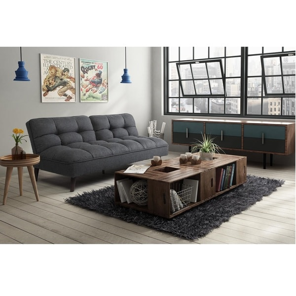 DHP Patterson Premium Charcoal Grey Linen Futon