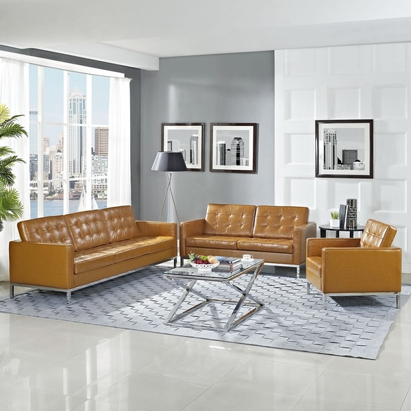 Tan 3-piece Loft Armchair/ Loveseat/ Sofa Set