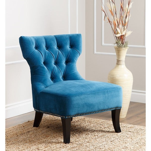 ABBYSON LIVING Sedona Blue Microsuede Nailhead Chair