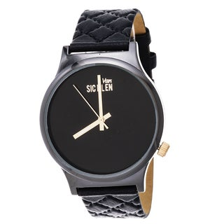 Van Sicklen Men's Gun Metal Steel VAN541GU-BK Black Quilted Leather Watch