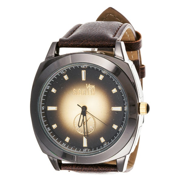 Van Sicklen Men's Gun Metal Leather Jumbo Watch