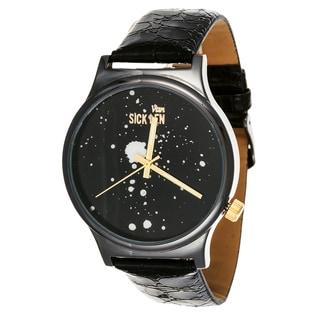 Van Sicklen Men's Gunmetal Steel VAN540GU-BK Galaxy Black Leather Watch