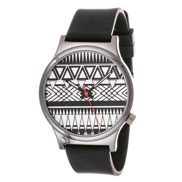 Van Sicklen Men's Black and White Zig-zag Dial Rubber Band Watch