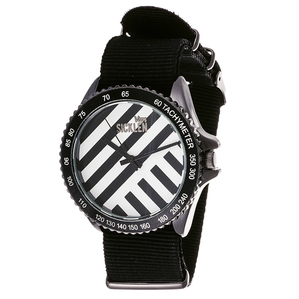 Van Sicklen Men's Black Striped Nylon Band Watch