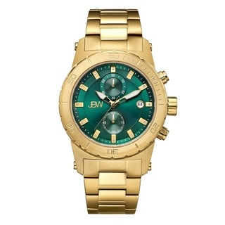 JBW Men's 18k Goldplated Stainless Steel J6316B Hudson Green Dial Diamond Accent Watch