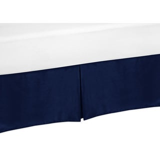 Solid Navy Kids Toddler Bed Skirt for Sweet JoJo Designs Navy and White Chevron Bedding Set Collection