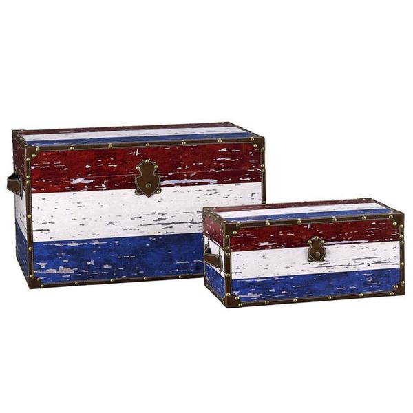 Household Essentials Red/ White/ Blue Design Trunk (Set of 2)