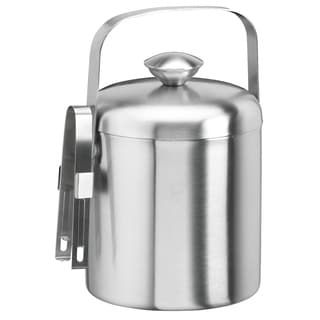 1.5-quart Brushed Stainless Steel Ice Bucket with Tongs